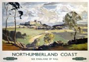 Northumberland Coast, Bamburgh Castle & Farne Islands. BR Vintage Travel poster by Jack Merriott